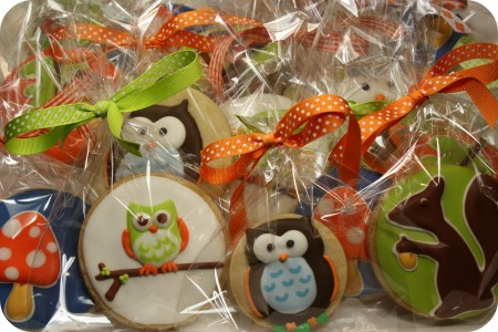 decorated autumn cookies in bags