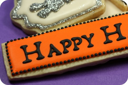 Happy Halloween decorated cookie