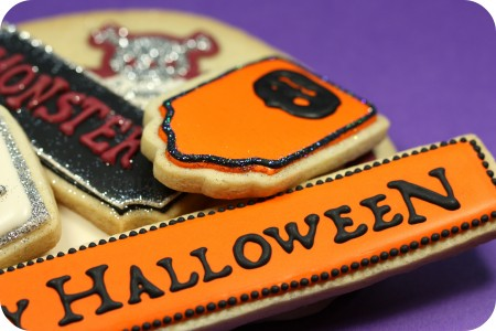 Happy Halloween decorated cookies