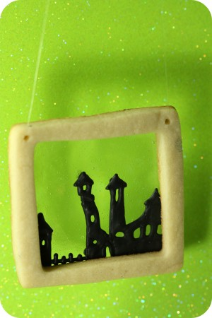 haunted town decorated cookie