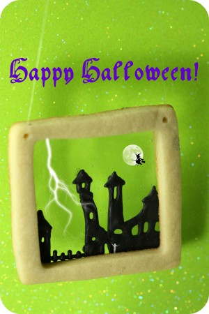 haunted town decorated cookie2