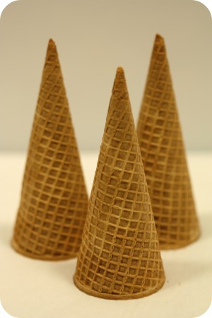 undecorated ice cream cones for gingerbread house