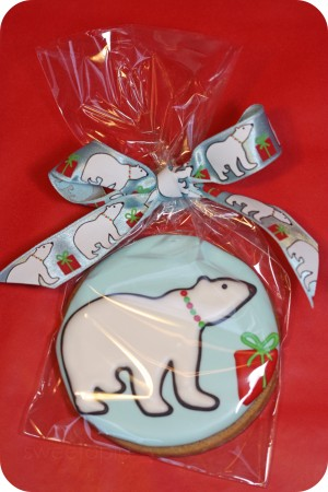 decorated polar bear sugar cookie