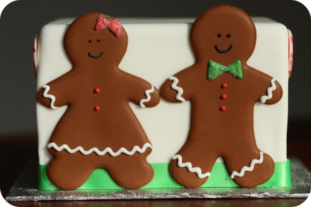 gingerbread boy and girl on cake