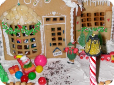 gingerbread toy store close up