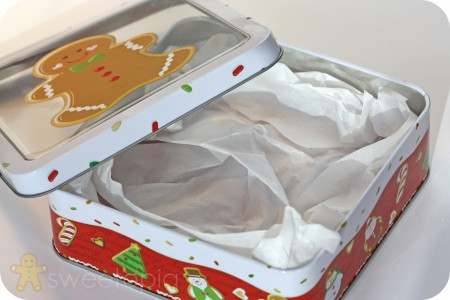 lining cookie box with parchment paper