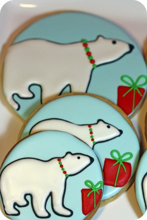 polar bear sugar cookies on a cake stand
