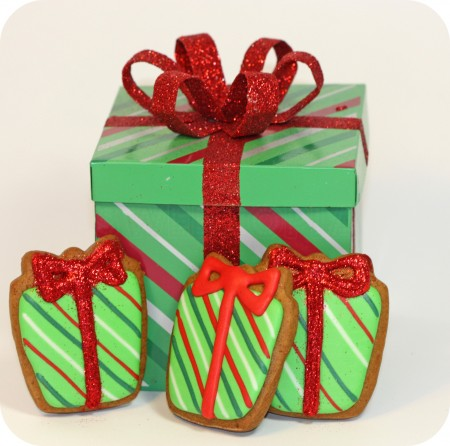 striped present cookies