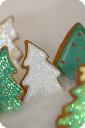 white sparkly decorated cookie tree