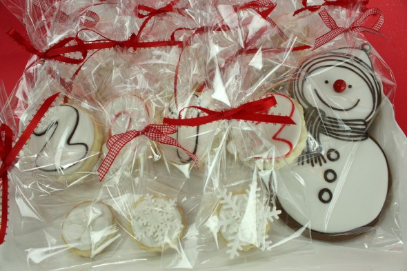 Decorated New Years Cookies Bagged in Celophane