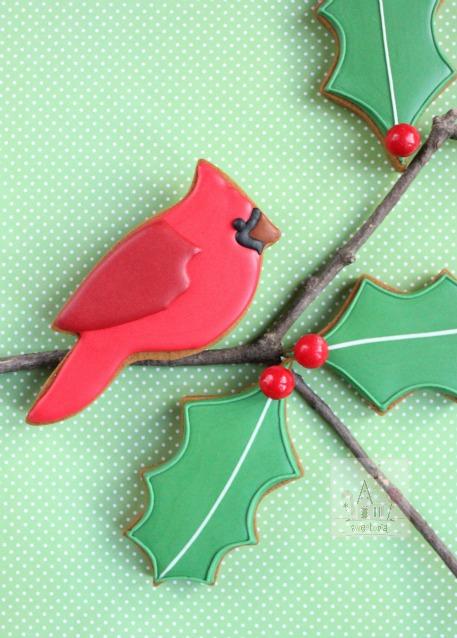 Simple Cardinal Gingerbread Cookies