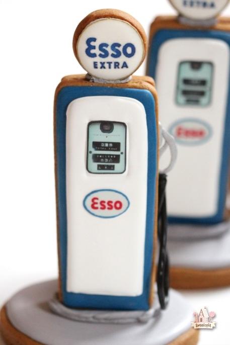3-D Gas Station Pump, Tiger & Esso Logo Cookies