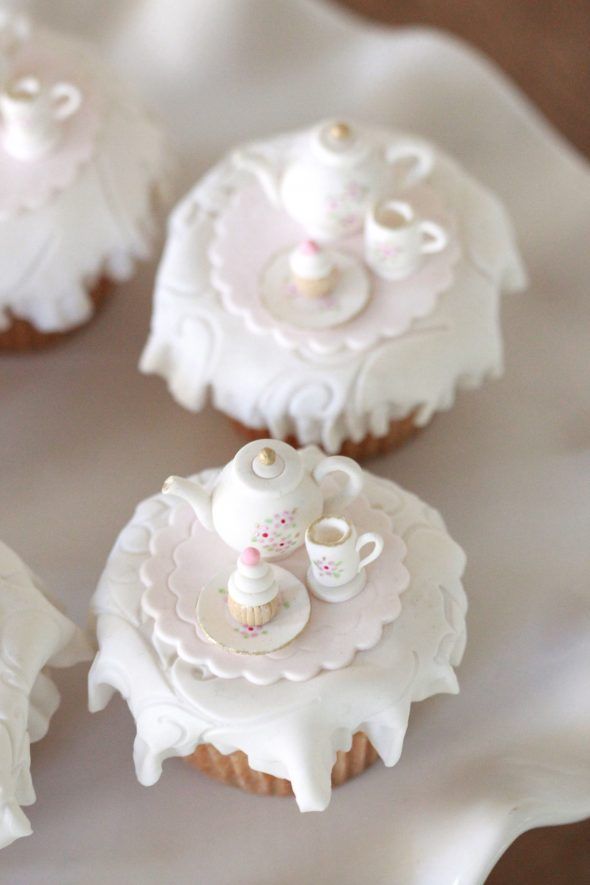 Tea Party Cupcake Toppers And Homemade Marshmallow Fondant
