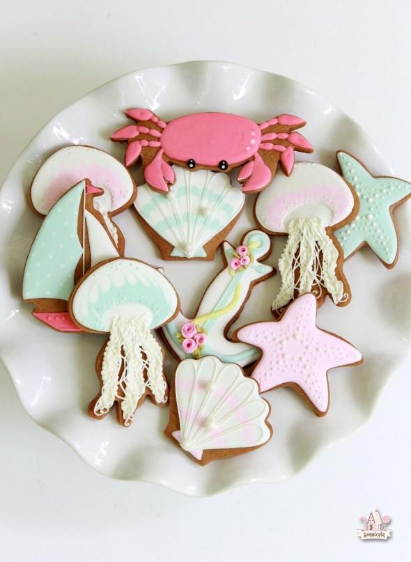 Summer Ocean Decorated Cookies