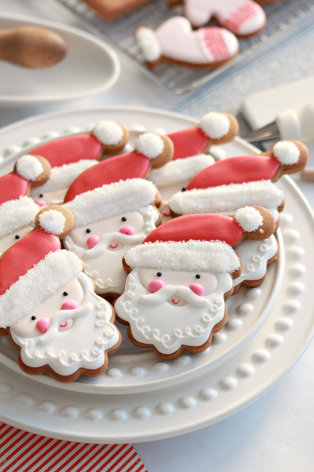 santa decorated cookies