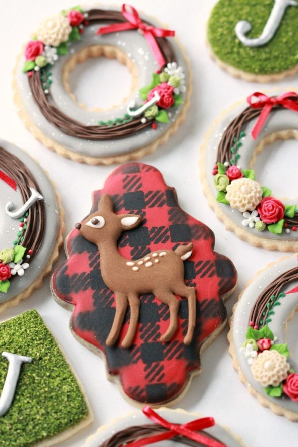 Buffalo Plaid Deer Decorated Cookie