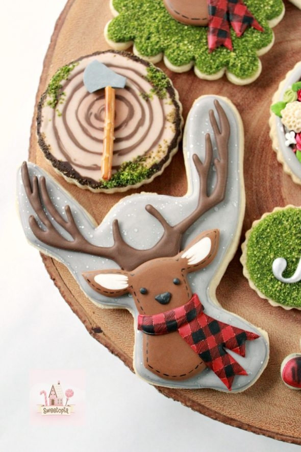 Deer Plaid Woodcutter Lumberjack Decorated Cookies