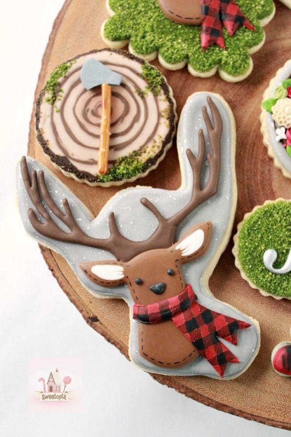 Deer Plaid Woodcutter Lumberjack Decorated Cookies