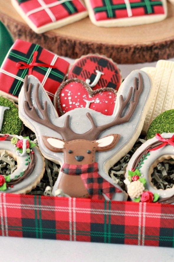 Deer and Plaid Christmas Cookies