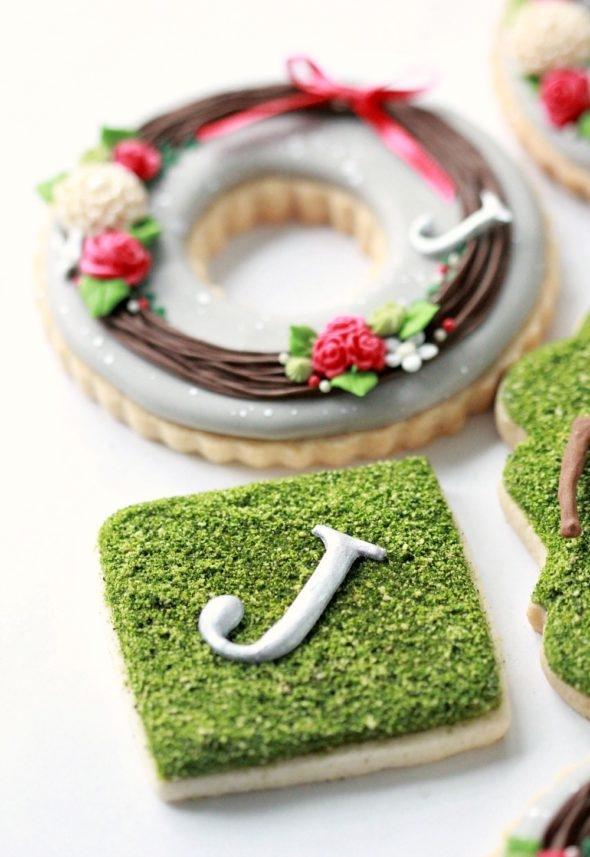 Edible Moss Monogram Decorated Cookie