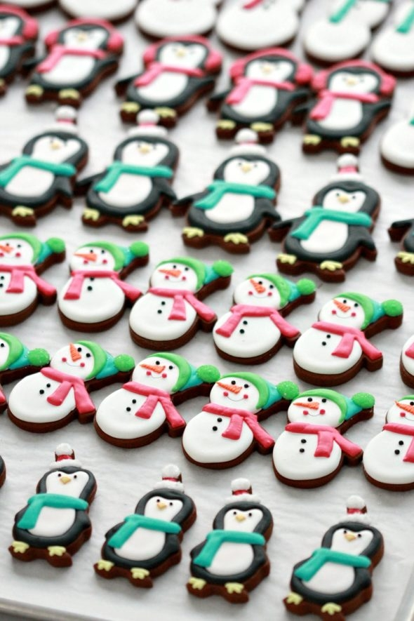 Chocolate Gingerbread Decorated Cookies