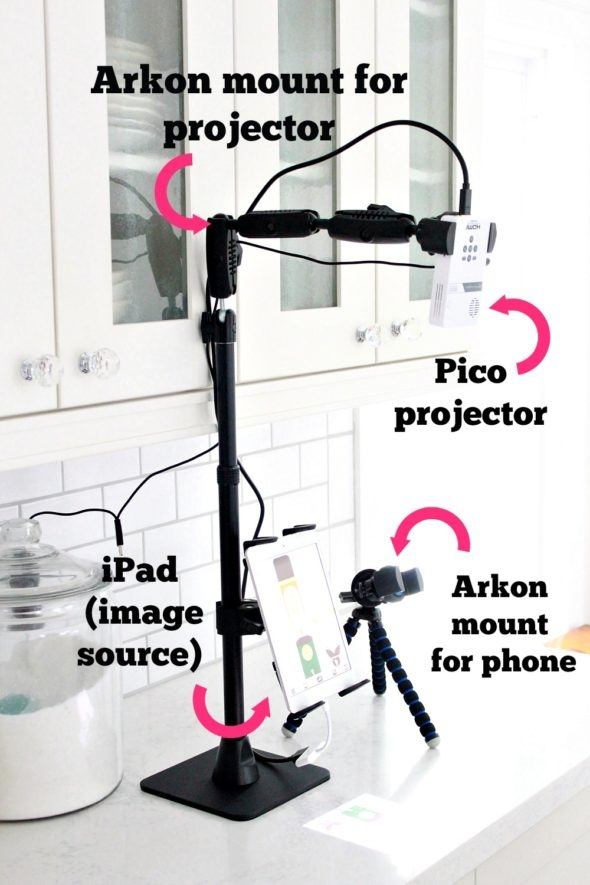 Pico Projector and Arkon Mount for Cookie Decorating