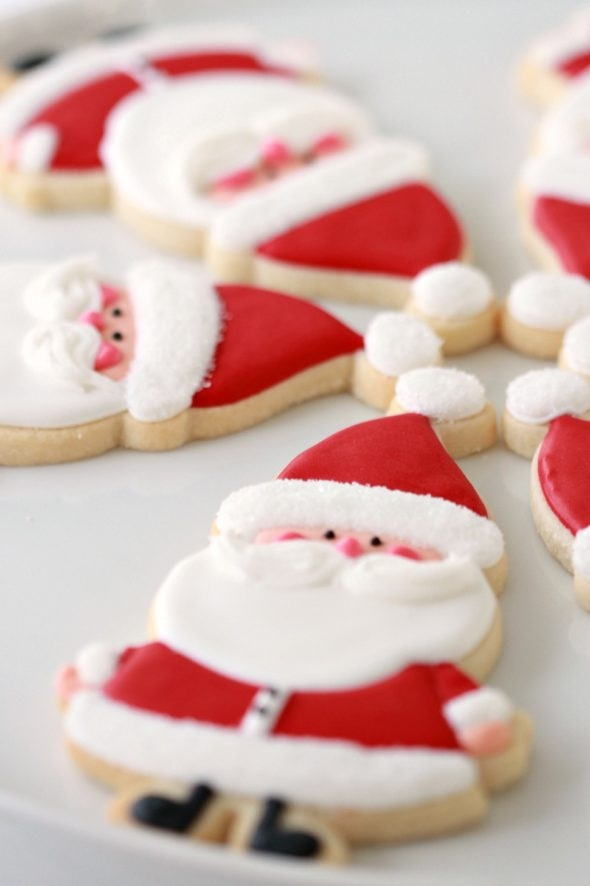 Santa Decorated Cookies and Candy Cane Sugar Cookie Recipe