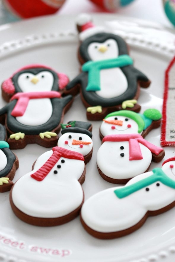 Snowman and Penguin Decorated Cookies
