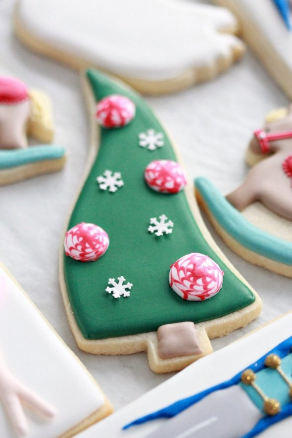 Whimsical Christmas Tree Decorated Cookie