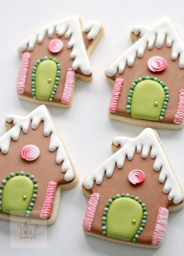 Gingerbread House Decorated Cookies and Royal Icing Tips