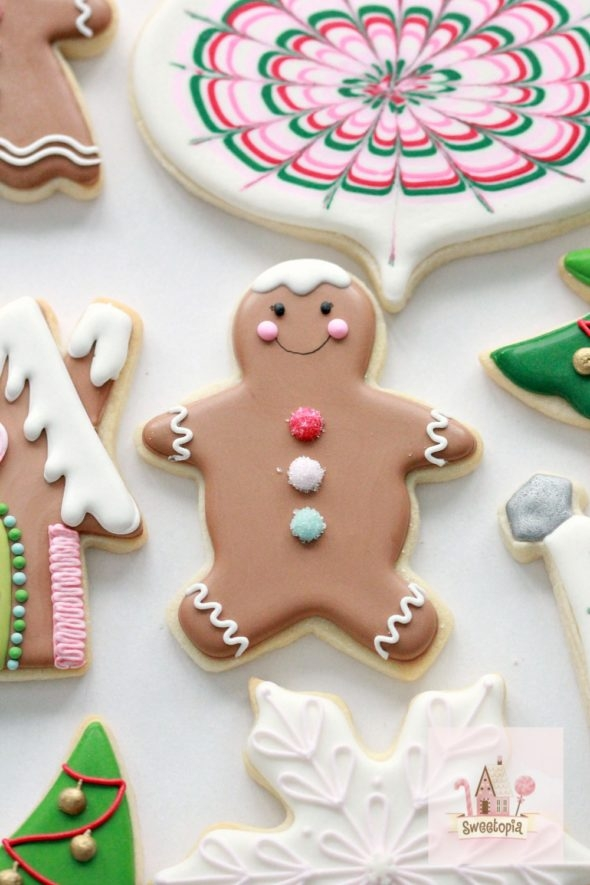 Gingerbread Man Decorated Cookie and Royal Icing Tips