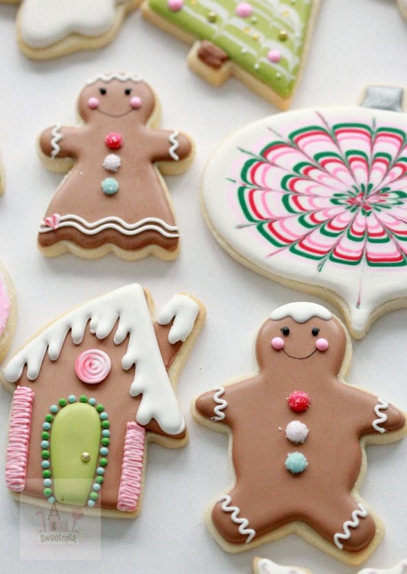 Gingerbread Man and Gingerbread Girl Decorated Cookies