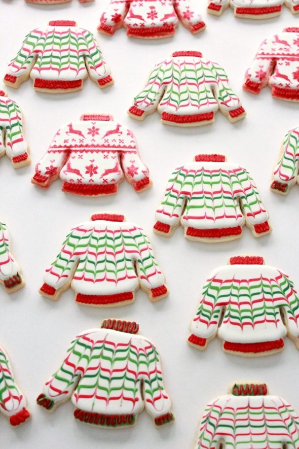 Ugly Sweater Christmas Decorated Cookies and Royal Icing Tips