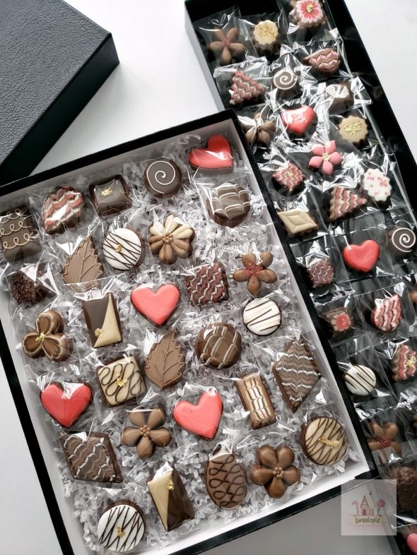 Box of Chocolate Decorated Cookies