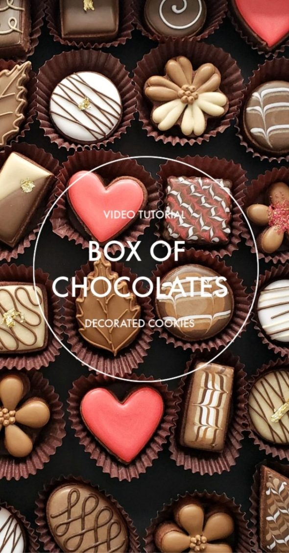 Box of Chocolates Simple Decorated Cookies Video Tutorial
