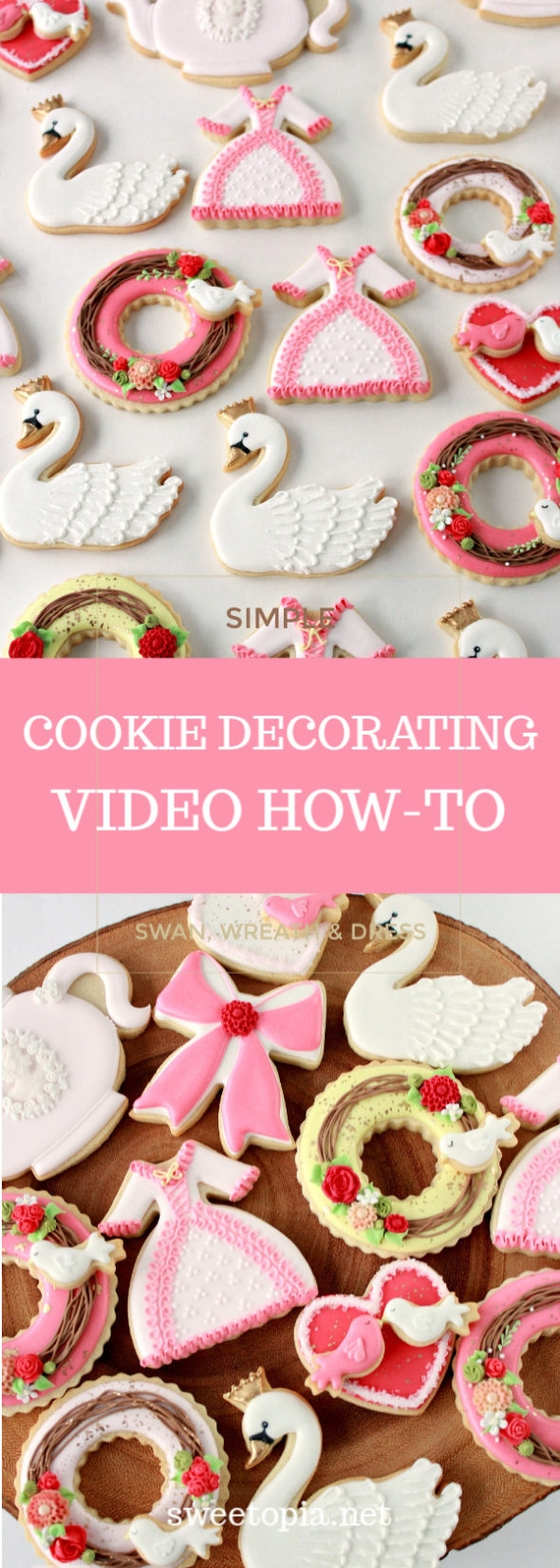 Video tutorial _ How to decorate simple cookies _ swan wreath dress