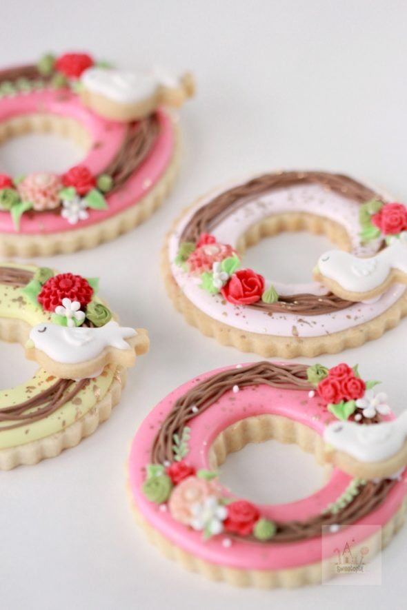 wreath decorated cookies video tutorial sweetopia