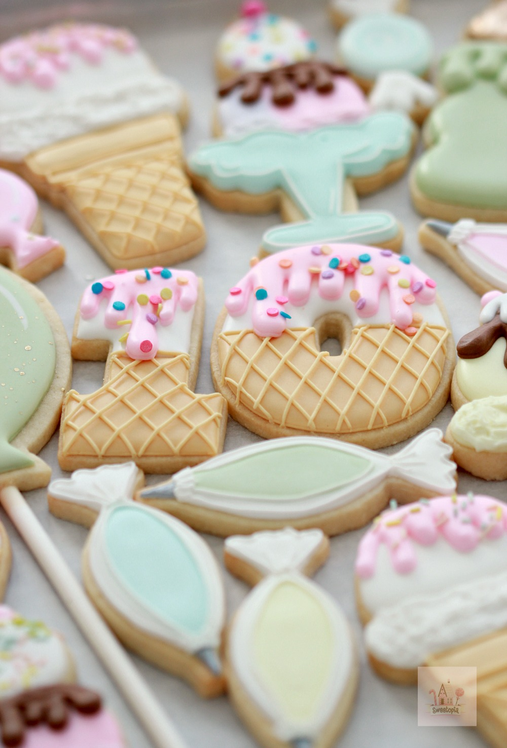 Birthday Ice Cream Decorated Cookies