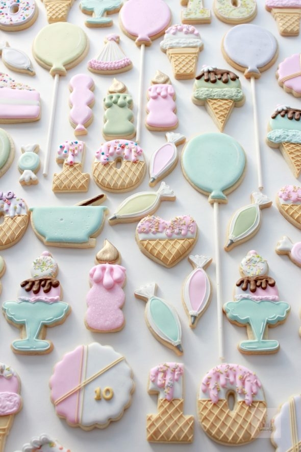 Birthday Party Decorated Cookies and Confetti Cut Out Cookie Recipe Sweetopia