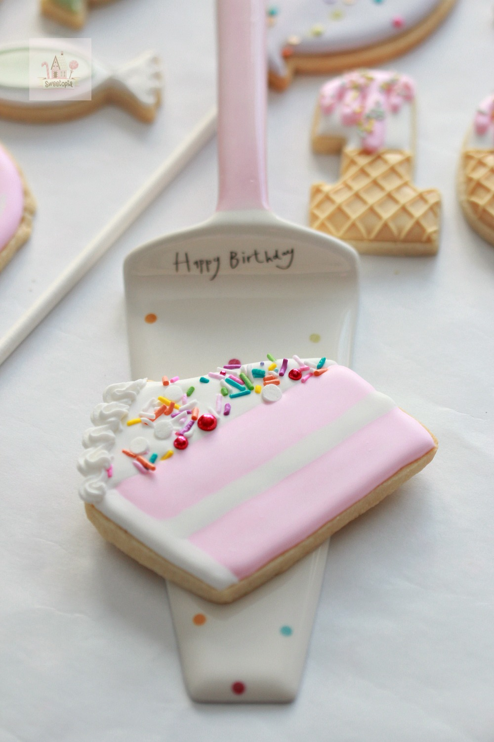 Cake Slice Decorated Cookie