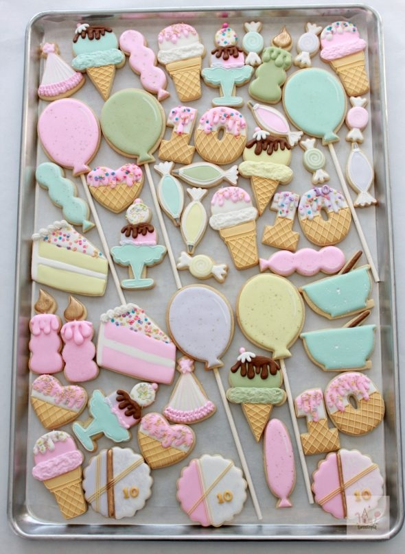 Ice Cream Birthday Decorated Cookies