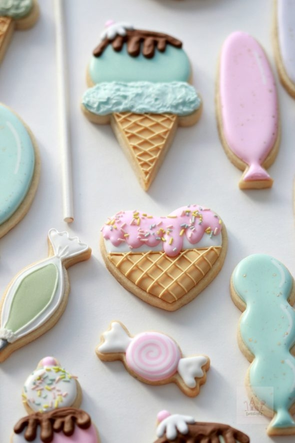 Ice Cream Birthday Party Decorated Cookies and Confetti Sugar Cookie Recipe