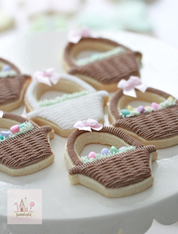 Basket Cookies Decorated with Royal Icing