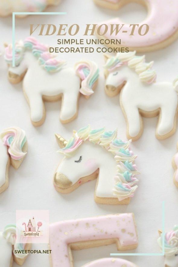 Simple Unicorn Cookies Video Tutorial