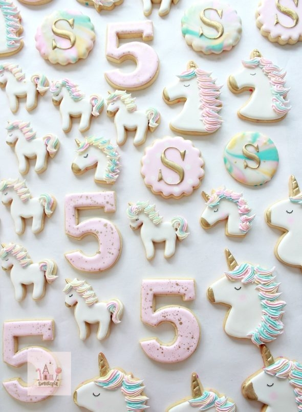 Unicorn Cookies Decorated with Royal Icing