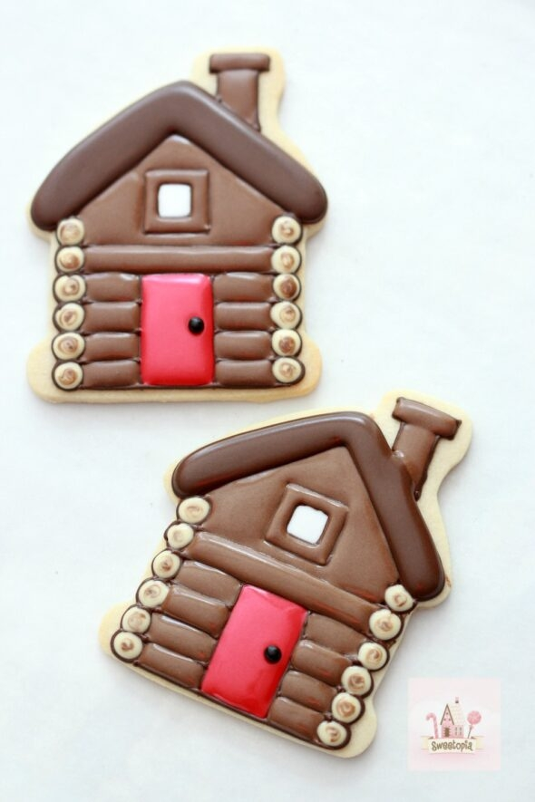 Decorating Cabin Cookies with Royal Icing Video Tutorial