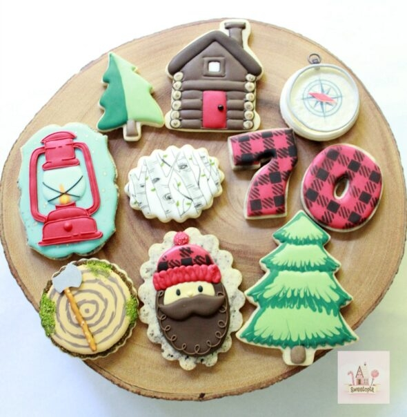 Decorating Lumberjack Cookies with Royal Icing _ Video Tutorial _ Sweetopia