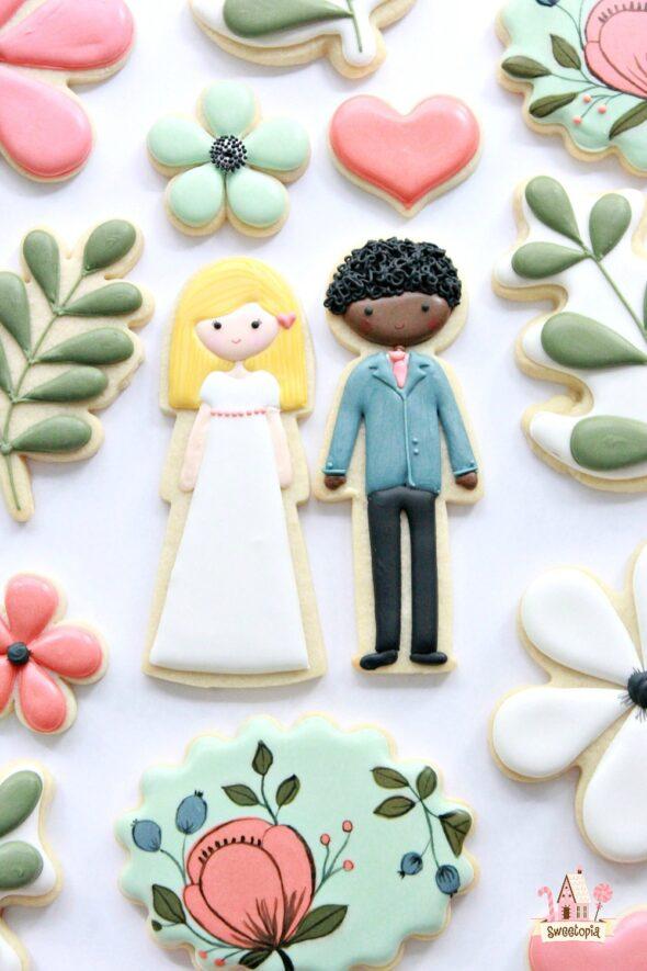 Botanical Wedding Decorated Cookie Tutorial