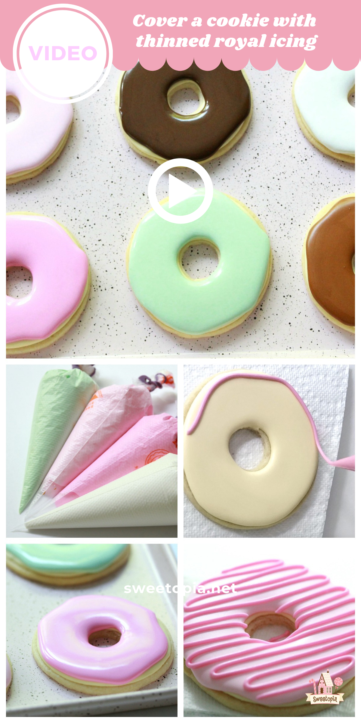 Cover a Cookie With Thinned Royal Icing