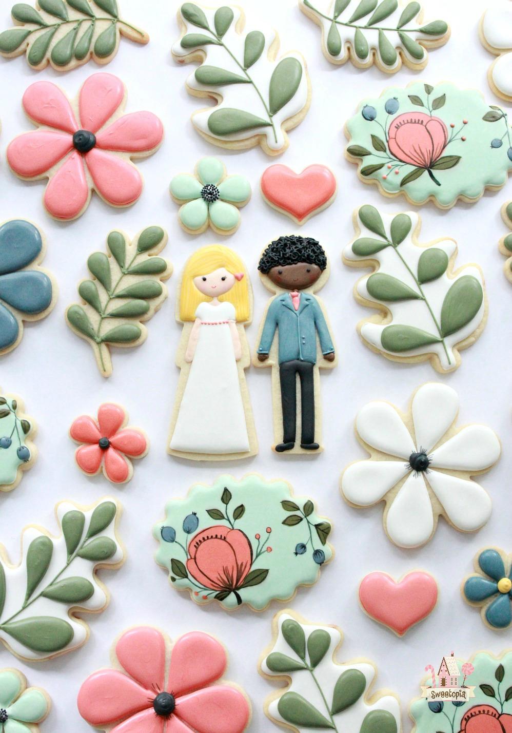 Flower Wedding Decorated Cookies Tutorial